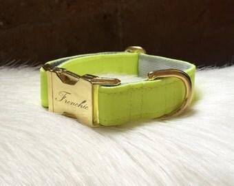 "Adjustable dog collar ""Neon yellow"""