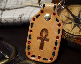 Leather Keychain - Sale - 2nd String Misfit - Ankh