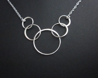 Sterling Silver Eternity Necklace. 5 Circle Necklace. 5 Interlocking Ring Necklace. 5 Best Friend Necklace. 5 Generation Necklace.