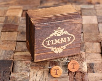 Personalized Men's Classic Round Wood Cuff Link Monogrammed Engraved Groomsmen, Best Man, Father's Day Gift