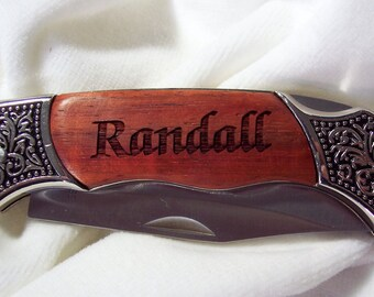 Engraved Rosewood Knife