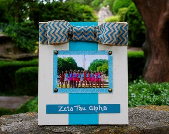 Zeta Tau Alpha Large Bow Table Top Frame with Burlap Ribbon