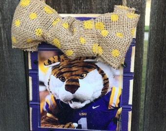 LSU Beadboard Ornament Frame with Burlap Ribbon