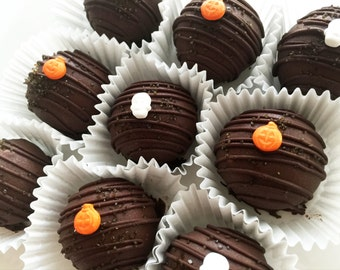 Cake Truffles - Halloween Double Chocolate Cake Truffles - Chocolate Cake Balls - Chocolate Cake Bites - Cake Pops