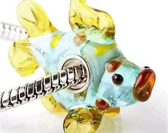 Glass Fish Bead - Murano Lampwork - Sea - Ocean - Beach - Pale Blue and Gold Murano Bead - Fit European Bracelets and Necklaces - A217
