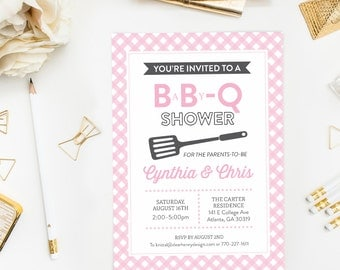 Pink Grey BBQ Baby Shower Invitation, BabyQ invite, Baby-Q or Babyque Couples Shower, Co-ed Picnic barbecue shower, Gingham Gray It's a Girl