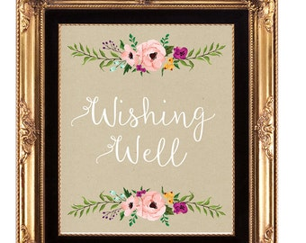 wishing well sign, digital wedding sign, printable wishing well sign, floral wedding sign, bridal shower sign, 8 x 10, you print
