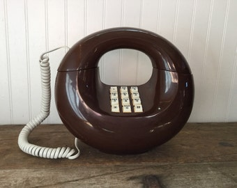 Retro Brown Touch Tone Donut Telephone Western Electric Phone