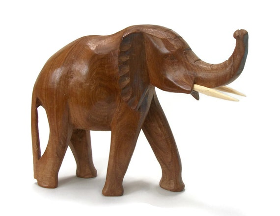 Large heavy hand carved wooden elephant sculpture figurine