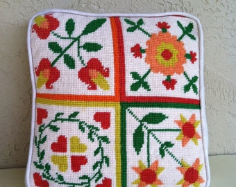 Vintage NEEDLEPOINT Hand Stitched Accent Throw Pillow Case+Pillow Insert. Mid Century Mod, Floral Red Yellow Green Orange 70's Home decor.