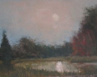 Pond At Dawn, aceo, original oil painting
