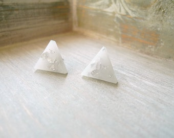 Triangle stud earrings, White studs, Stainless steel posts, Geometric studs,