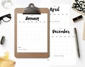 2016 + 2017 Printable Calendar - BRUSHED CHARM