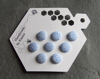 Fabric Covered Buttons - 8 x 12mm Buttons, Handmade Button, Cream White Cornflower Sapphire Cerulean Cobalt Bold Blue Polka Dot Buttons 2273