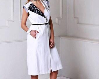 Womans vest, vest top, white vest, white dress,  belted with lace detail