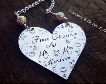 Hand Stamped Personalised 'Mr & Mrs' Christmas Heart Decoration, Ornament, Couples, Newly Weds First Christmas, Holidays Decor, Handmade.