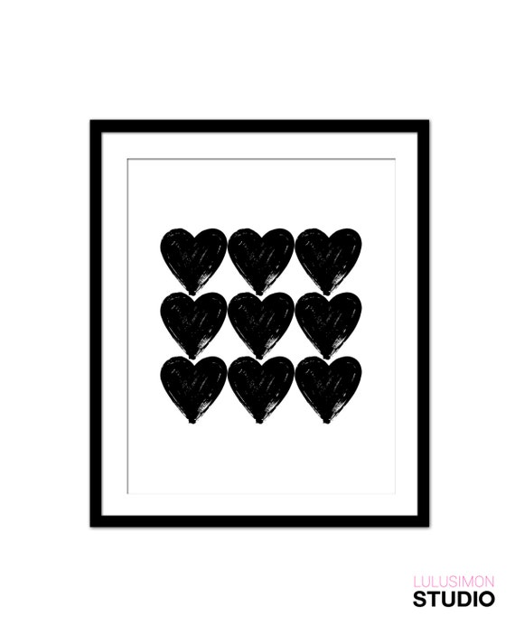 Decorative Wall Hanging Hearts : Hearts art print wall decor home black by