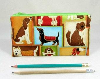 Caja de lápiz de perro, útiles escolares, bolsa de la cremallera, bolso pequeño maquillaje, bolso organizador, portalápices, caso de Gadget