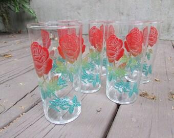 Set of Vintage Federal Rainbow Rose Drinking Glasses Mid-Century
