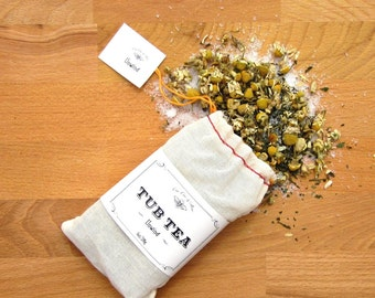 Unwind Tub Tea, with Chamomile Tea, Mint Tea & Epsom Salt Soak / gift for the bath lover