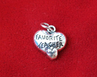"BULK! 30pc ""Favorite teacher"" charms in antique silver (BC805B)"