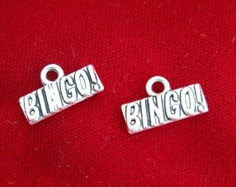"BULK! 30pc ""Bingo"" charms in antique silver (BC807B)"