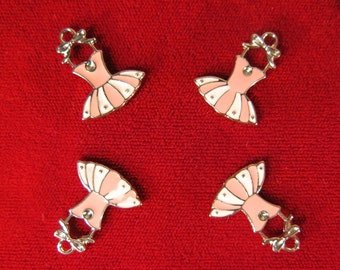 "BULK! 15pc ""pink dress"" charms in silver style (BC228B)"