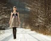 Beige lace dress, dark blue lace applique