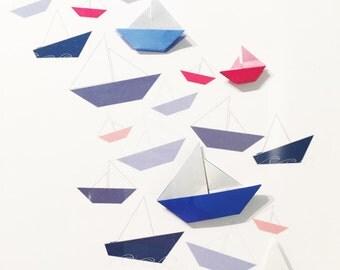Multi Sailboat Digital Origami Personalized Nursery Art with Origami, 8x10