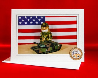 US Army Cat-Combat Cat Note Card-Blank Photography Cat Greeting Card-Gift Card for Cat Lovers-Cat in Camouflage-Dress Up Cat-AE20