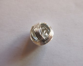 2 beads ball silver 12mm wire
