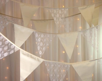 Vintage style lace & calico bunting garden parties, shabby chic, weddings, baby showers, church weddings, receptions