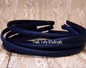FOUR Navy Satin Covered Headband - Headband Blank - Satin Headband - Plain Headband - Plastic Headband - Wholesale - DIY - Craft