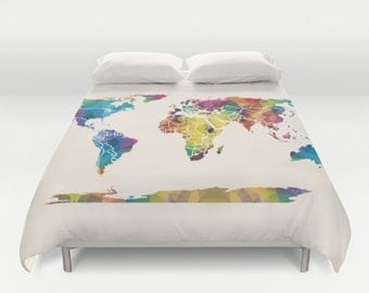 World Map Duvet Cover - colorful Geometric Map - modern, bedroom, travel decor, cozy soft, dorm, guest room, warm, wanderlust
