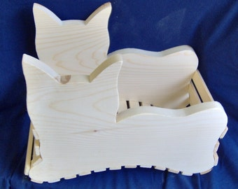Wooden Cat Basket / Planter