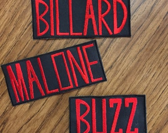 Personalize! Create your own Ghostbusters style name badge. Sew-on patch. Just specify your last name to appear in red all caps letters.