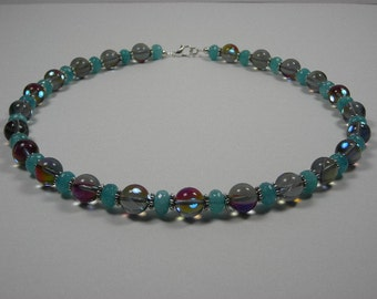 Smokey Prism Bead with Apatite Rondelle Bead and Tibetan Daisy Spacer Necklace