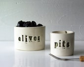 Olives and Pits. Nesting Hand-Built Ceramic Bowls.  In Green.  Olive Bowl.  Pit Bowl.