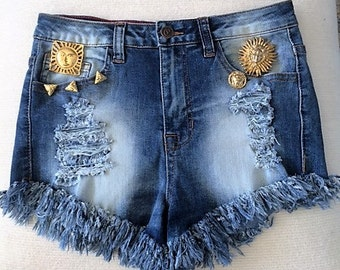 Ripped jean shorts | Etsy