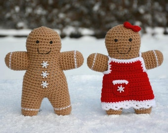 PATTERN: Gingerbread Boy and Girl Crochet Pattern - amigurumi, doll, Christmas, stuffed toy, decoration