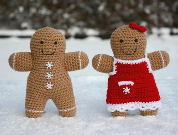 CROCHET PATTERN: Gingerbread Boy And Girl Amigurumi Doll