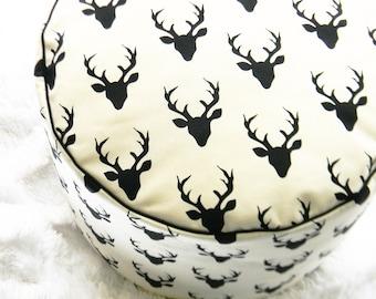 Nursery Pouf- Floor Pouf- Premium Stag Nursery Pouf- Ottoman Cushion- Buck Forest Pouf- Stag Pillow- Nursery Decor- Deer Ottoman- Boy Pillow