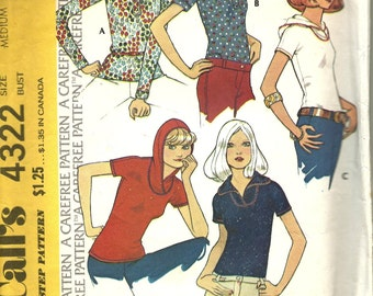 Misses Set of Knit Tops           McCalls 4322    Size Medium (14/16)    C1974