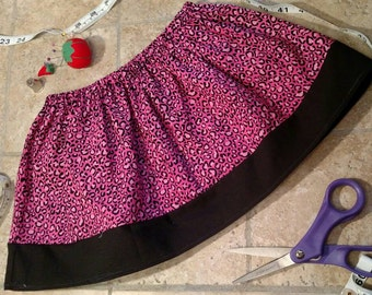 Clearance item, Leopard skirt, 2T, pink and black, toddler skirt, birthday present, Christmas present, handmade, Halloween, ready to ship