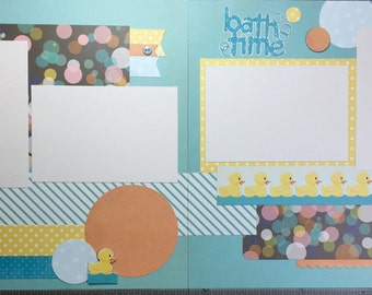 Bath time(Last One Available)- scrapbook page kit, 12x12 premade page kit, premade scrapbook pages, 12x12 scrapbook layout