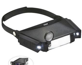 Head Band Magnifier Three Lens Led Illuminated Loupe Visor Jewelers Watchmakers Tool. 303-128