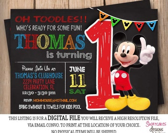 Mickey Mouse 1st Birthday Invitation - Chalkboard - First Birthday - Printable - Red Yellow Green Blue