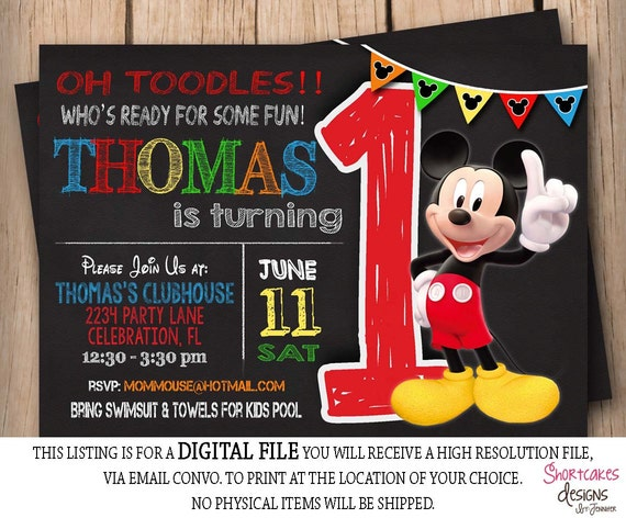Mickey mouse 1st birthday invitation chalkboard first like this item filmwisefo Images
