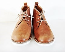 Unisex Leather Boots/Mens Desert Boots/Women Ankle Boots/Chukka Boots/White Sole/Tobacco Light Brown Color /Handmade