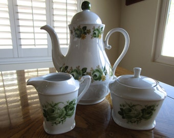 Vintage Schirnding Bavarian Green Roses on White Teapot/Coffeepot with Creamer and Sugar Bowl